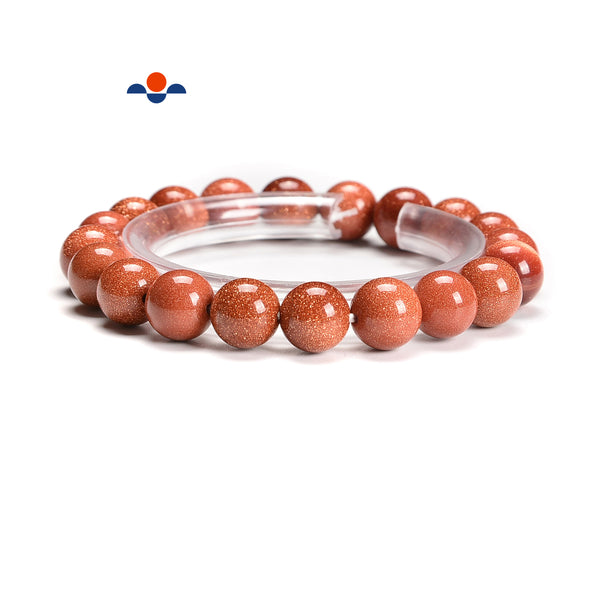 Sand Goldstone Smooth Round Bracelet Size 6mm 10mm 12mm 7.5'' Length