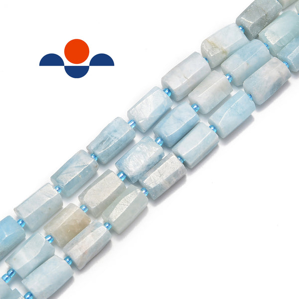 natural aquamarine matte faceted cylinder tube beads