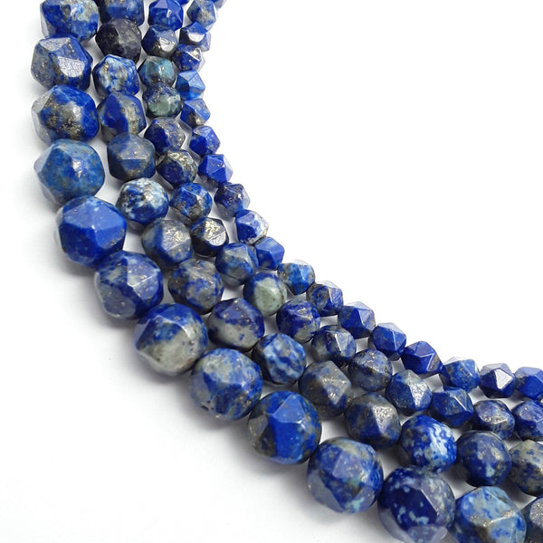 lapis lazuli diamond star cut beads