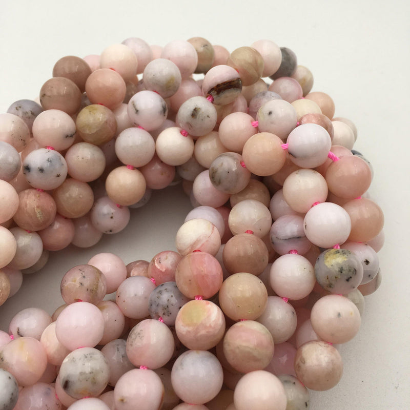 large hole pink opal smooth round beads
