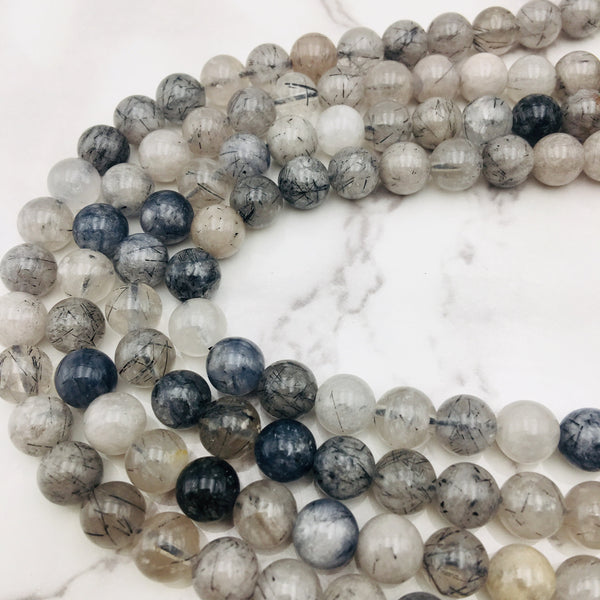 cloudy black tourmalinated quartz smooth round beads