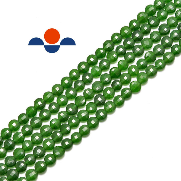 nephrite jade faceted flat round beads