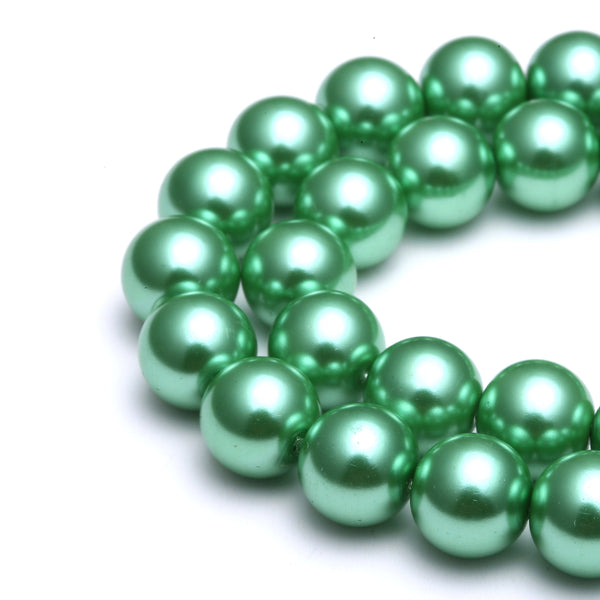 bright green glass pearl smooth round beads