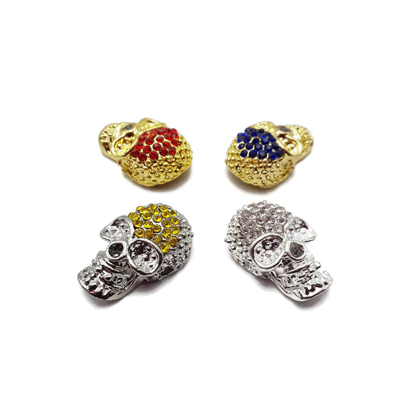 Alloy Silver Gold Plated with Rhinestone Skull Pendant Charm 14x23mm Sold per Pc
