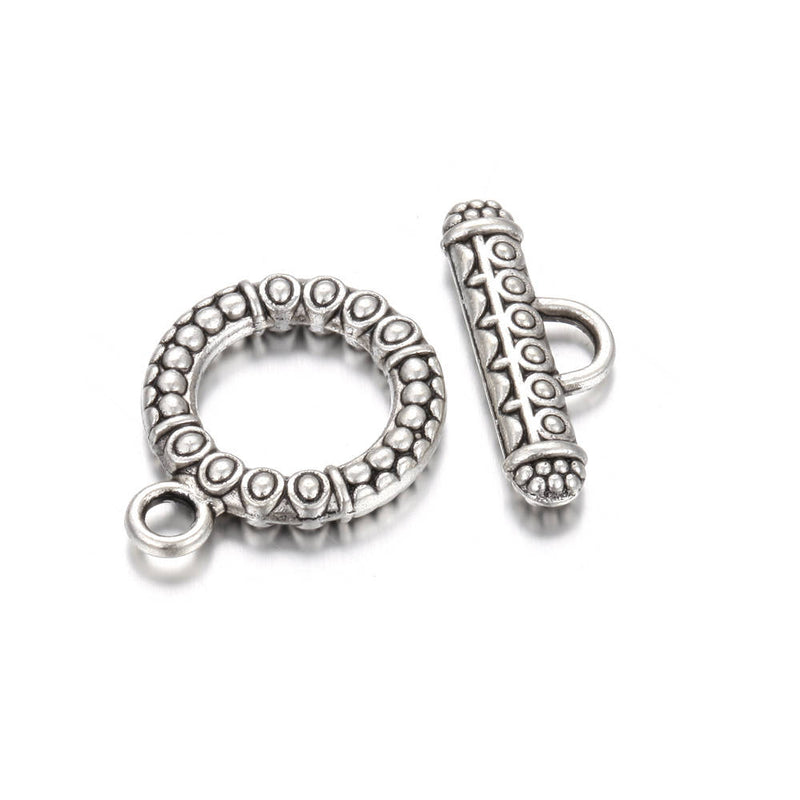 Anti-Silver Plated Charm Toggle Clasps Round Size 17 mm 15 Clasps Per Bag