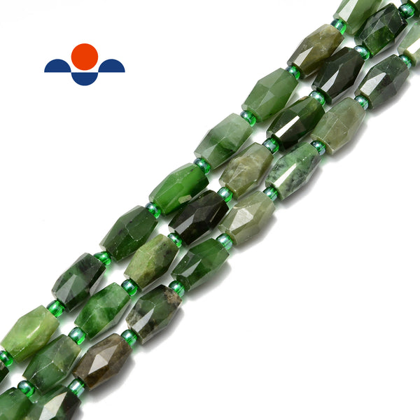 nephrite jade faceted barrel drum cylinder side drill beads