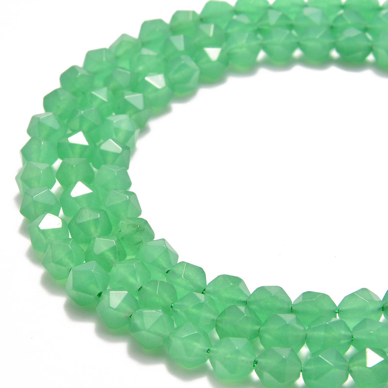 green aventurine faceted star cut beads