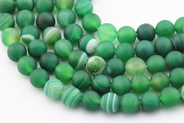 large hole green Striped agate matte round beads