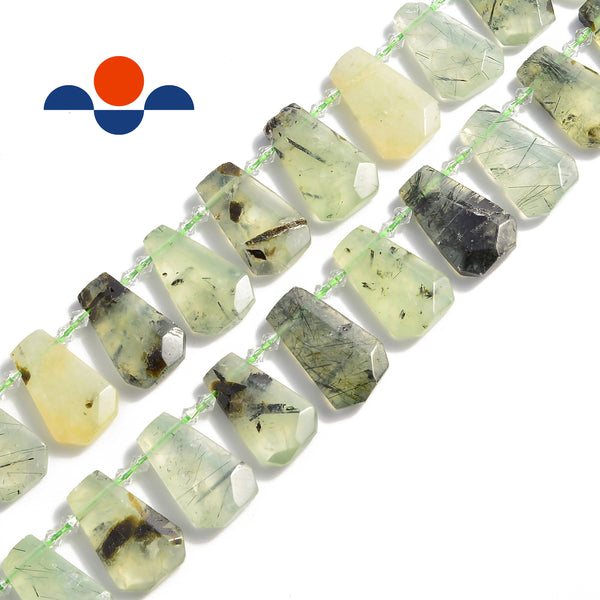 prehnite graduated faceted trapezoid beads