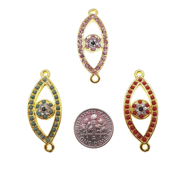 evil eye charm gold plated copper micro pave pink red green zircon