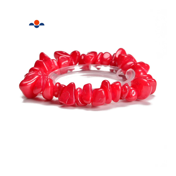 Red Dyed Jade Pebble Nugget Elastic Bracelet Size 7-17mm 7.5'' Length