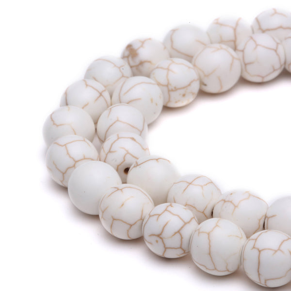 white howlite turquoise smooth round beads