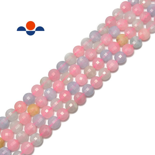 "Morganite Faceted Flat Coin Beads 6mm 15.5"" Strand"