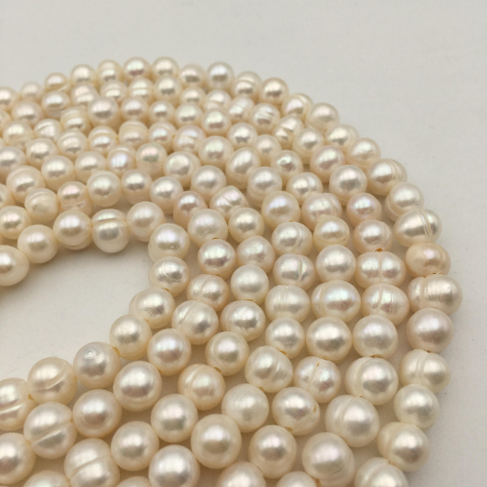 hole white freshwater pearl potato shape beads