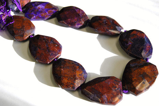 green purple jasper faceted trapezoid beads
