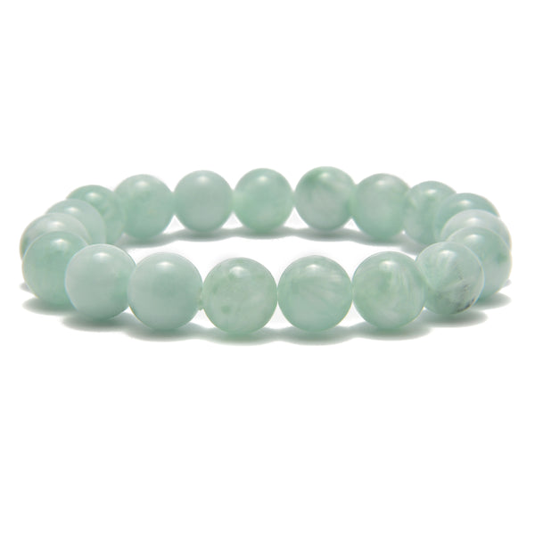 green moonstone smooth round elastic bracelet