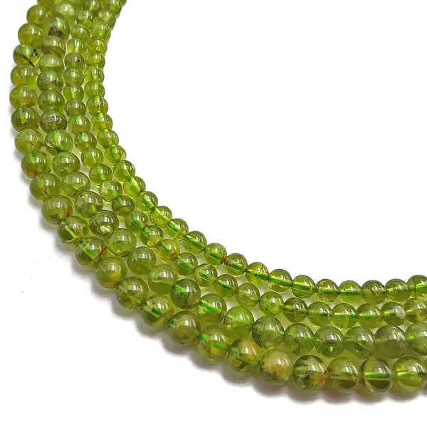 "Natural Peridot Smooth Round Beads 5mm 7mm 15.5"" Strand"