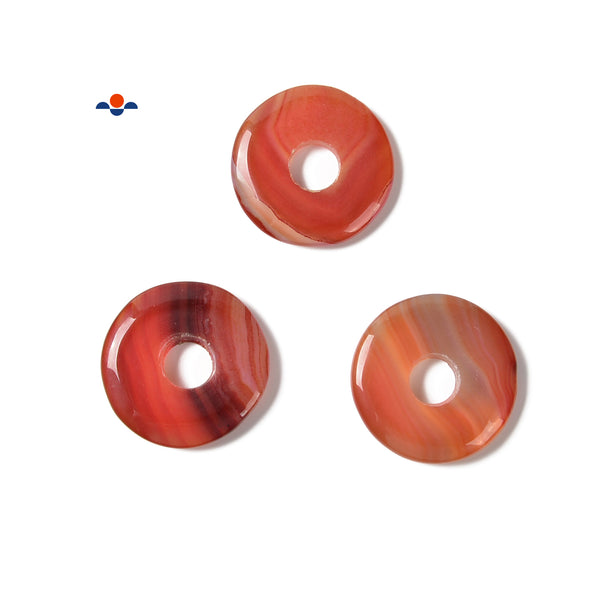 Natural Carnelian Donut Circle Pendant Size 32mm Sold per Piece