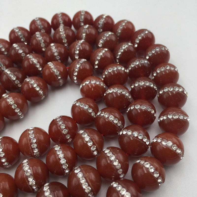 carnelian rhinestone smooth round beads
