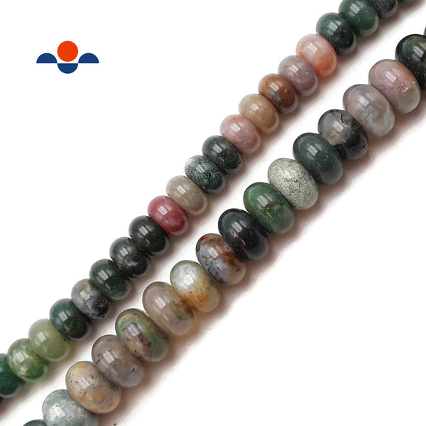 "Indian Agate Smooth Rondelle Beads 5x8mm 6x10mm Approx 15.5"" Strand"