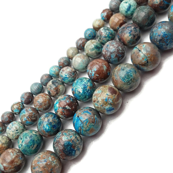 "Blue Calsilica Jasper Smooth Round Beads 4mm 6mm 8mm 10mm 12mm 15.5"" Strand"