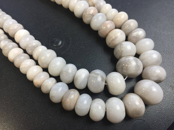 natural white agate graduated smooth rondelle beads