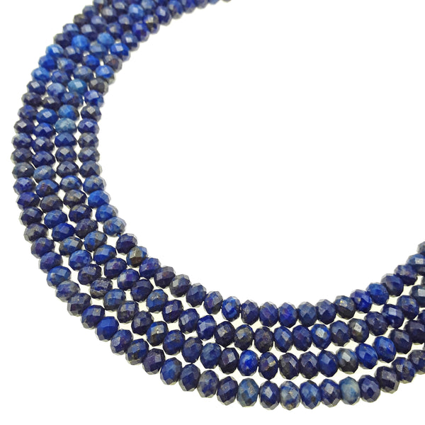 "Natural Lapis Lazuli Hard Cut Faceted Rondelle Beads 3x5mm 15.5"" Strand"