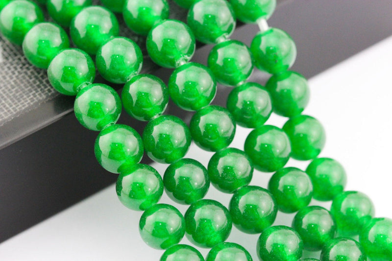 large hole green dyed jade smooth round beads