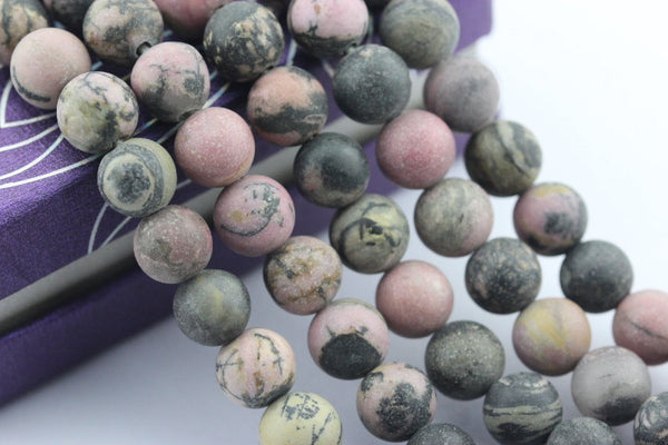"2.0mm Hole Rhodonite Matte Round Beads 8mm 10mm 15.5"" Strand"