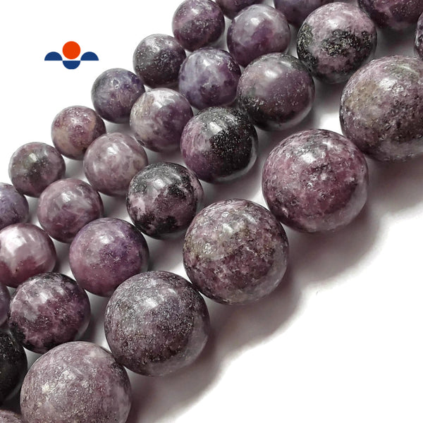 "Natural Purple Lepidolite Smooth Round Beads 12mm 14mm 16mm 20mm 15.5"" Strand"