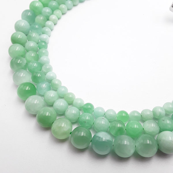 natural green jadeite jade smooth round beads