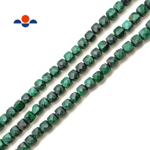 "Natural Malachite Faceted Square Dice Cube Beads Size 4mm 15.5"" Strand"