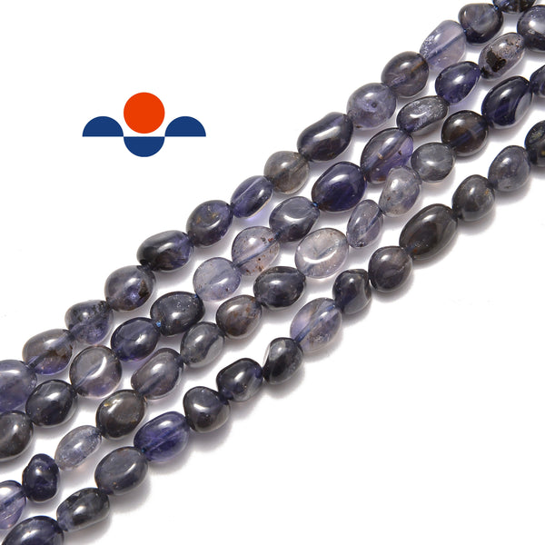 natural iolite pebble nugget beads