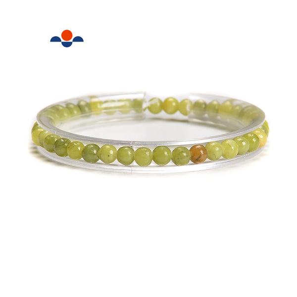 Natural Green Jade Smooth Round Elastic Bracelet Beads Size 4mm 7.5'' Length