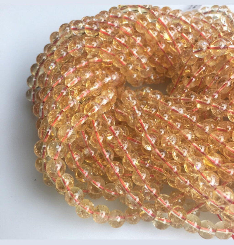 natural citrine smooth round beads