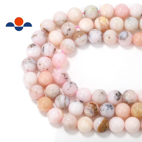 natural pink opal smooth round beads
