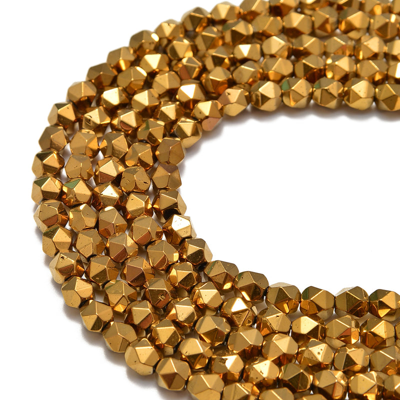 gold plated hematite faceted star cut beads