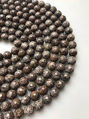 brown snowflake obsidian faceted round beads