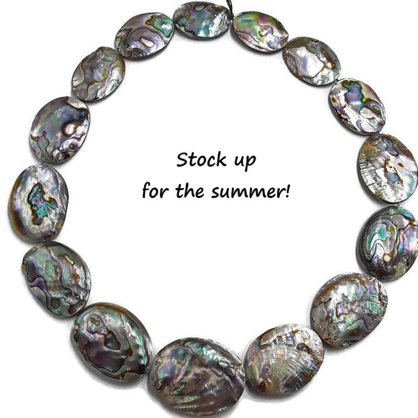 abalone paua shell puff oval shape graduated beads