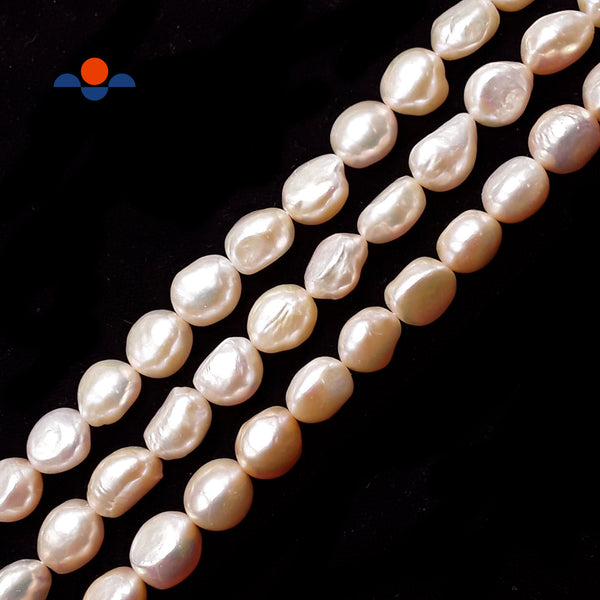 "Multi Peach Pink Fresh Water Pearl Pebble Nugget Button Beads 11-12mm 15.5""Strnd"