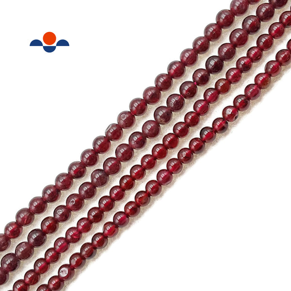 "Natural Garnet Smooth Round Beads Size 3mm 3.5mm 15.5"" Strand"
