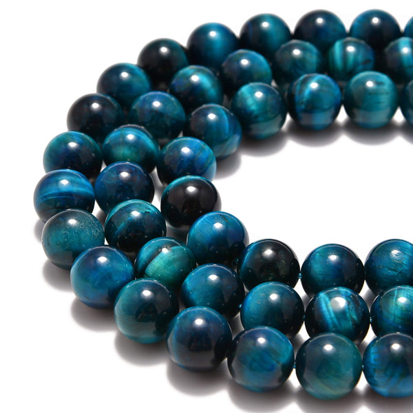 large hole blue green Tiger's eye smooth round beads