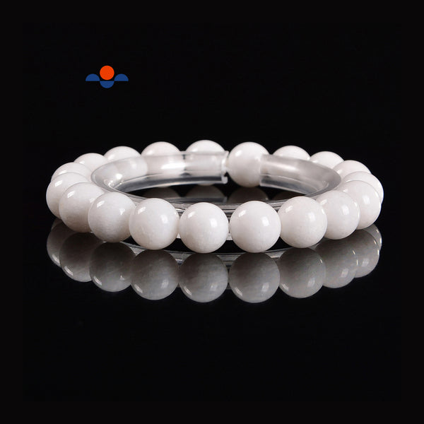 Natural White Jade Smooth Round Elastic Bracelet Size 7mm 10mm 7.5'' Length