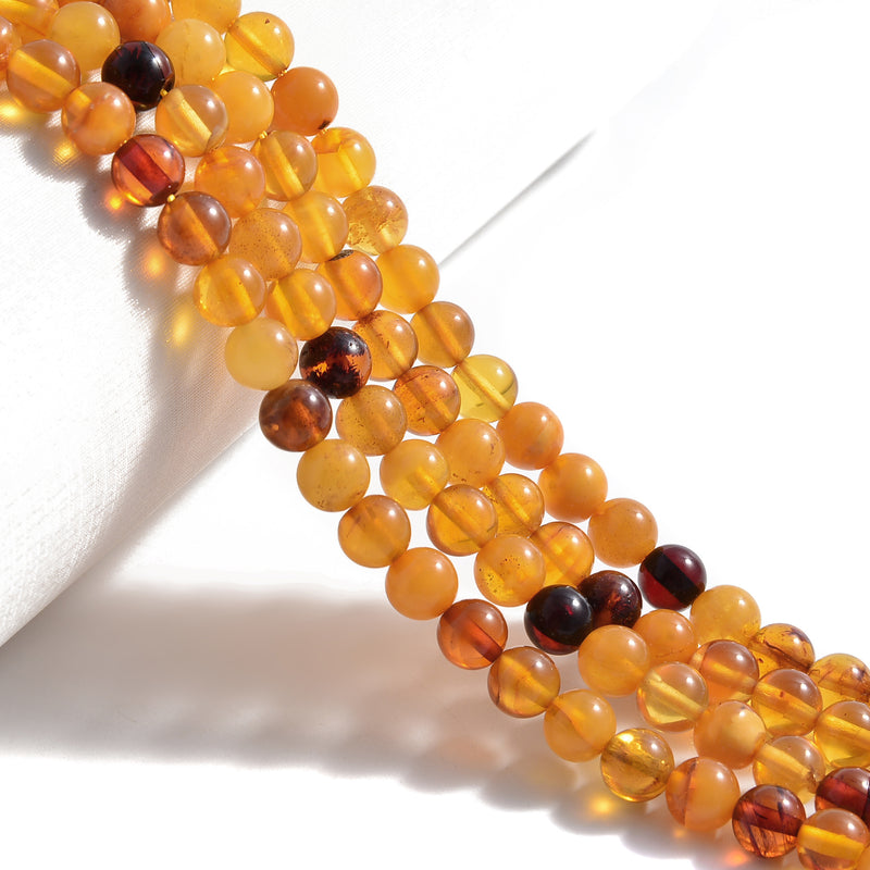 Baltic Multi Color Amber Smooth Round Beads 4mm 5mm 6.5-7mm 7.5-8mm 15.5''Strand
