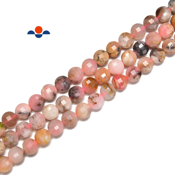 Natural Pink Opal Faceted Coin Beads Size 6mm 15.5'' Strand