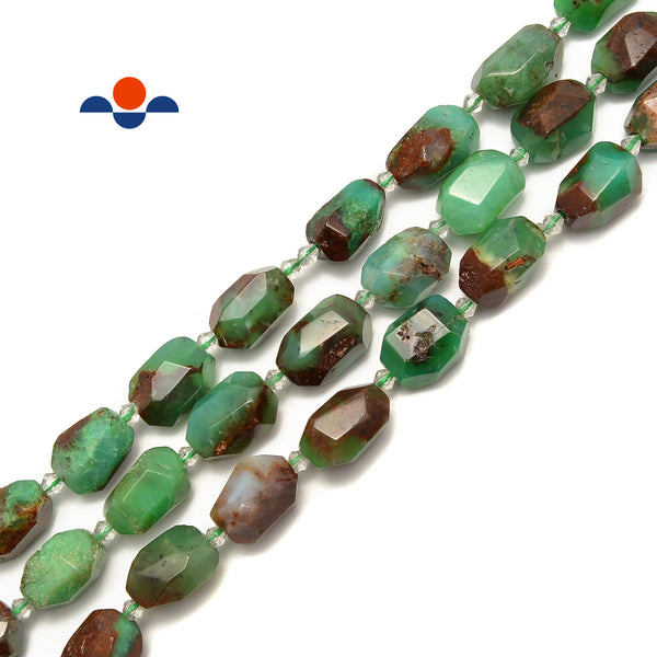 "Chrysoprase Faceted Nugget Chunk Beads Approx 15x20mm 15.5"" Strand"