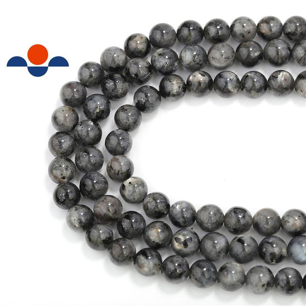 "2.0mm Hole Larvikite Labradorite Smooth Round Beads 6mm 8mm 10mm 15.5"" Strand"