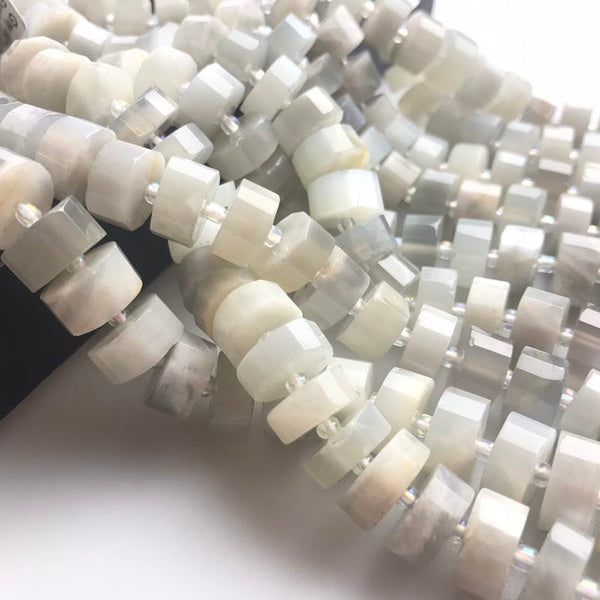 gray moonstone faceted wheel rondelle beads