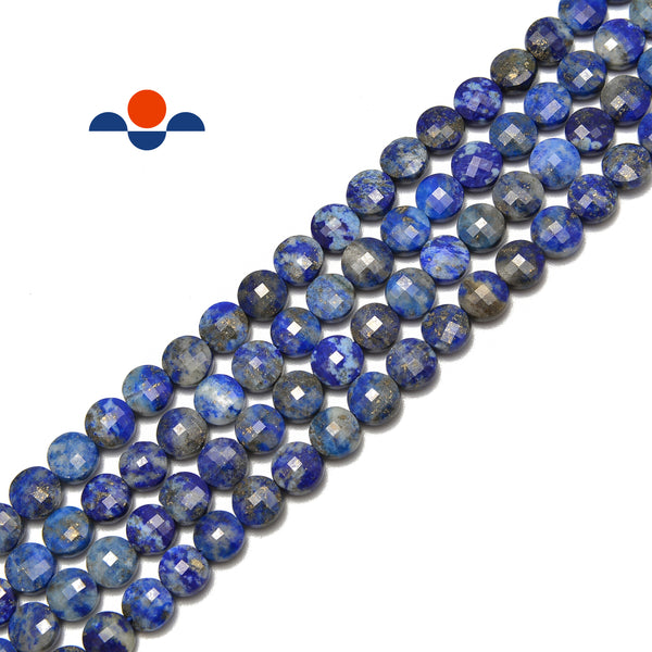 "Lapis Lazuli Faceted Flat Coin Beads 6mm 15.5"" Strand"