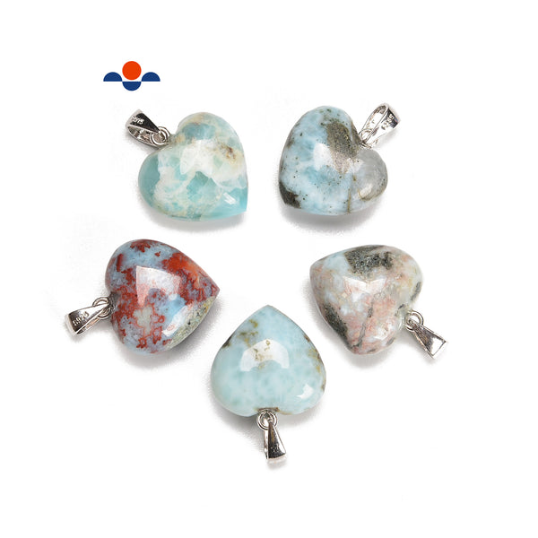 Larimar Heart Shape Pendant with 925 silver Clasp Size 15mm Sold per Piece